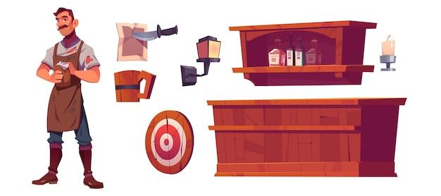 バーテンダーと古い居酒屋のインテリア、木製のバーカウンター、ボトル付きの棚、ランタン、ビールジョッキ