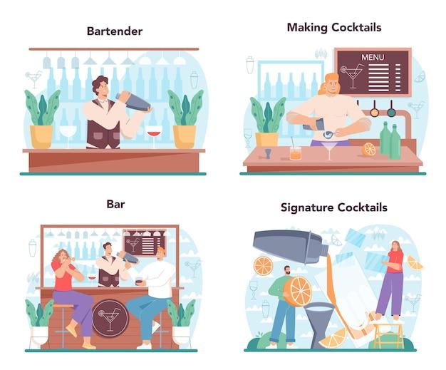 バーテンダーのコンセプトは、シェーカーでアルコール飲料を準備するバーテンダーを設定しました