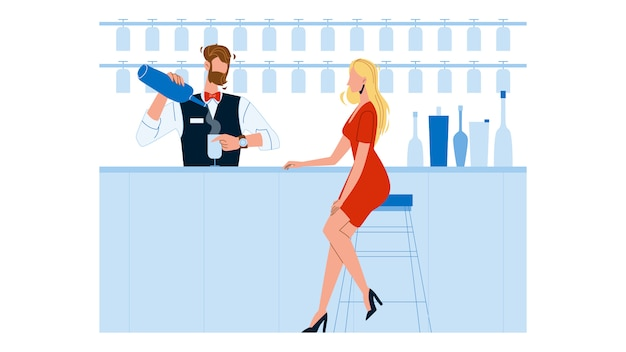 Bartender expert making cocktail for woman