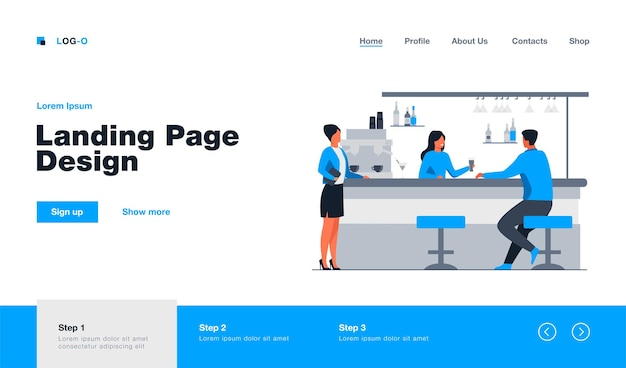 Bartender giving glass of beer to male client landing page in flat style