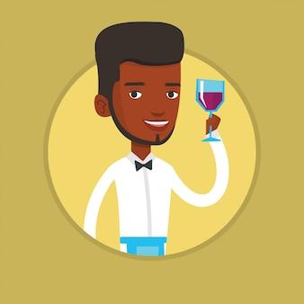 ワインのグラスを手に持ったバーテンダー。