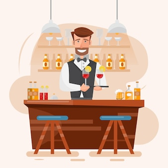 Bartender holding cocktail and beverage