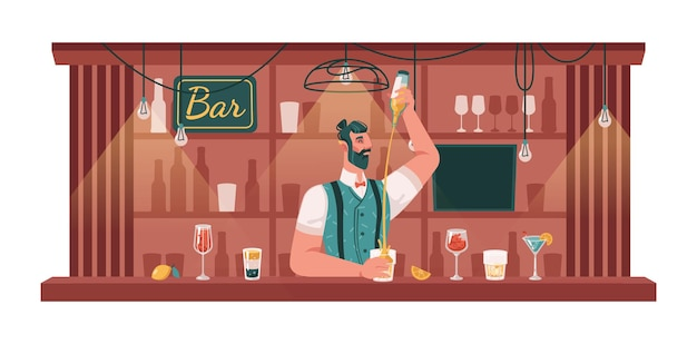 Bartender making cocktails and drinks in bar pub