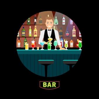 Бармен. бармен-мужчина разливает коктейль с роскошным алкогольным фоном в интерьере бара для ресторанов и ночных коктейльных клубов
