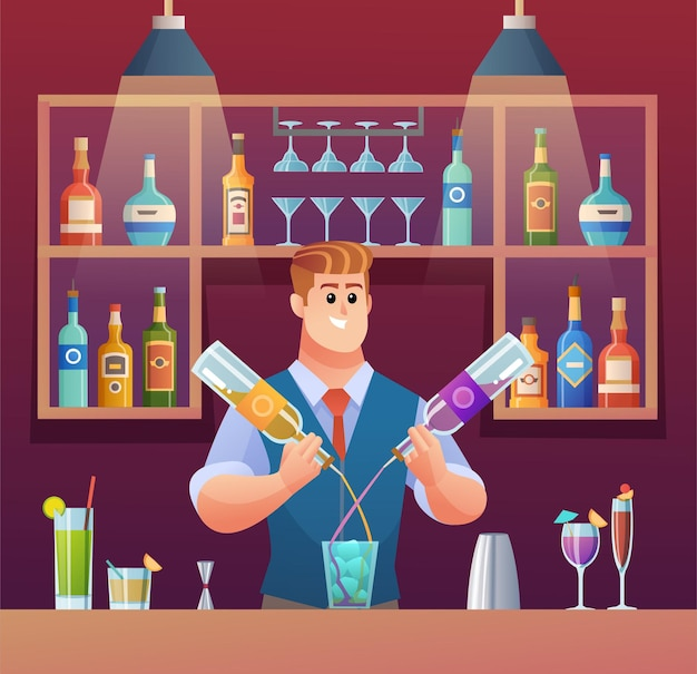 Bartender mixing drinks at bar counter cartoon illustration