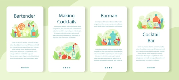 Bartender mobile application template set. barman preparing alcoholic drinks with shaker at bar. bartender standing at bar counter, mixing cocktail.