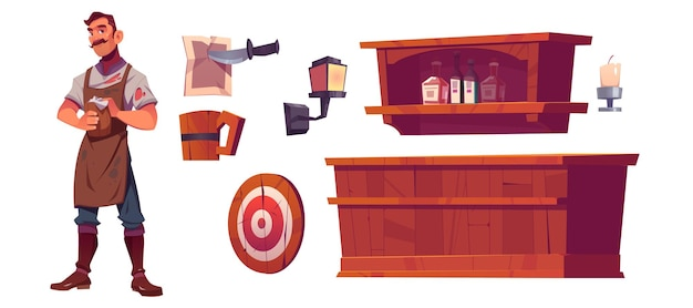 Bartender and old tavern interior with wooden bar counter, shelf with bottles, lantern and beer mug