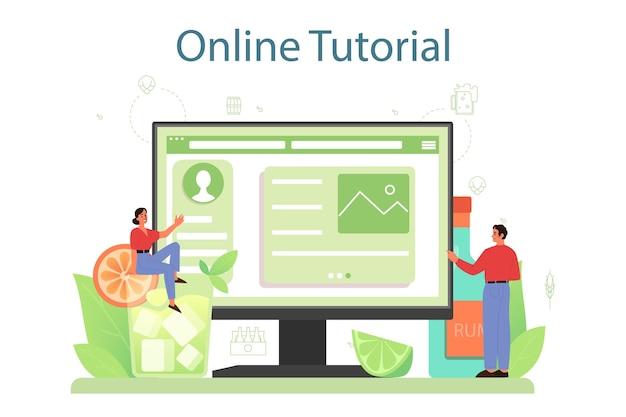 Онлайн-сервис или платформа бармена. бармен готовит алкогольные напитки с шейкером в баре. онлайн-учебник.