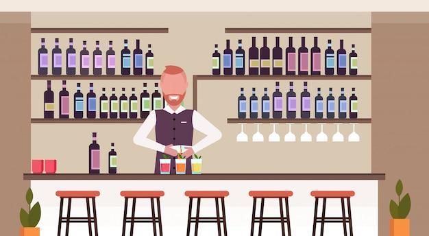 Bartender using shaker making cocktails barman in uniform mixing beverage pouring drink in glasses modern restaurant interior flat horizontal