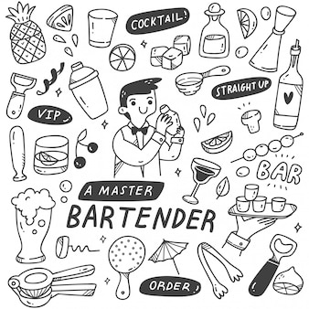 Bartender and various related object in doodle style