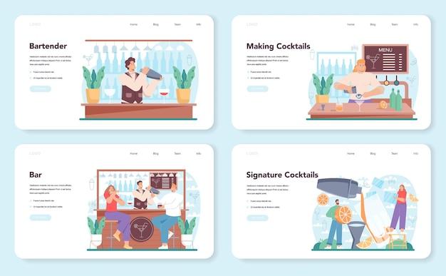 Bartender web banner or landing page set. barman preparing alcoholic