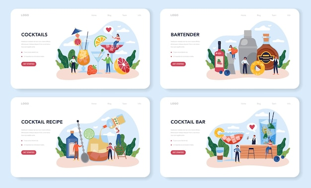 Bartender web layout or landing page set. barman preparing alcoholic drinks with shaker at bar. bartender standing at bar counter, mixing cocktail.