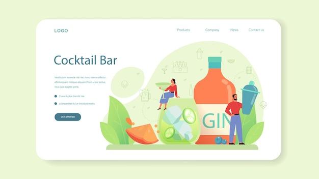 Веб-макет или целевая страница бармена. бармен готовит алкогольные напитки с шейкером в баре. бармен, стоя у барной стойки, смешивая коктейль.