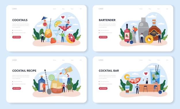 Веб-макет бармена или набор целевой страницы. бармен готовит алкогольные напитки с шейкером в баре. бармен, стоя у барной стойки, смешивая коктейль.