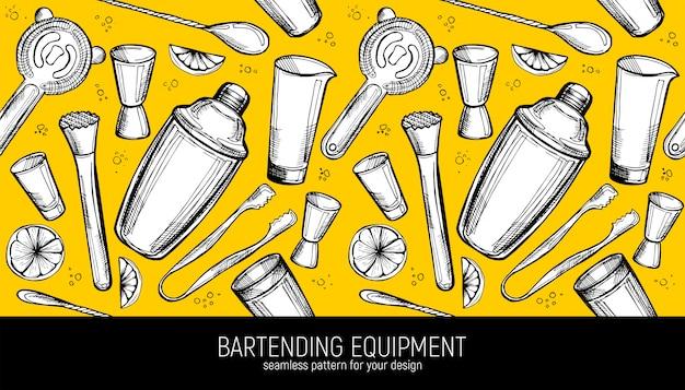 Bartending equipment seamless pattern.