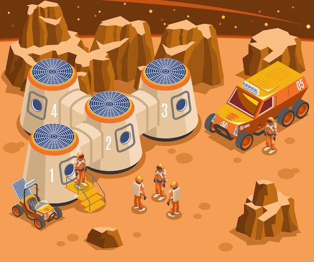 Base on mars isometric illustration