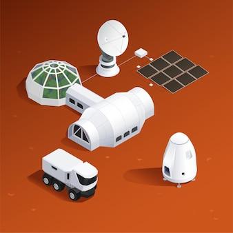 Base on mars isometric illustration