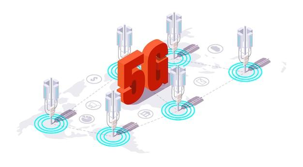 基地局アンテナ、5g高速インターネット用通信塔、フラットベクトル等角図。 5gネットワークカバレッジの概念。