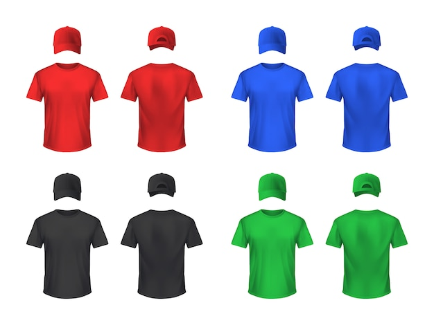 Basebal cap and tshirt colored sets