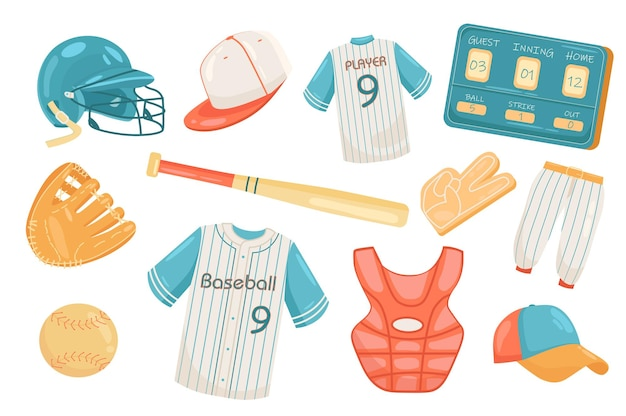 Baseball accessories cute elements isolated set