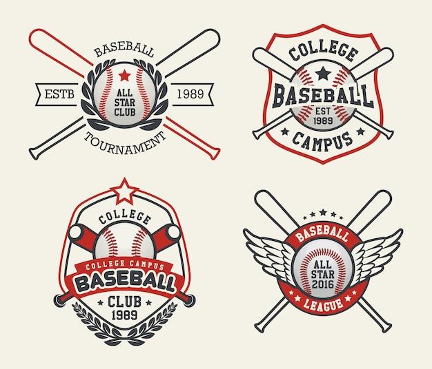 野球のバッジとラベル、スポーツロゴデザイン