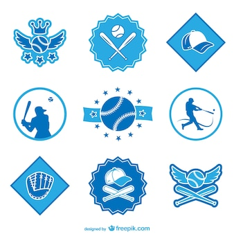 Baseball badges and stickers set