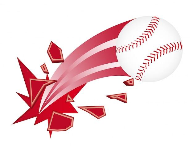 Baseball ball broken isolated over white background vector