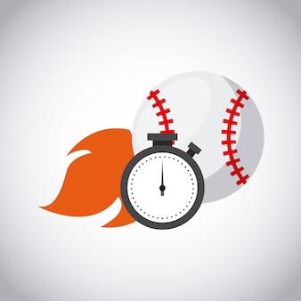 Baseball ball on fire and chronometer