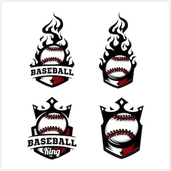 Baseball ball fire and king badge logo