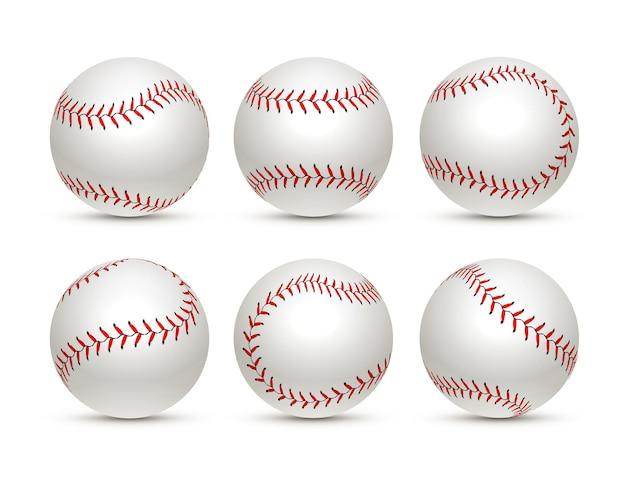 Бейсбольный мяч изолированный белый значок. софтбол набор векторных бейсбол оборудование иллюстрации.