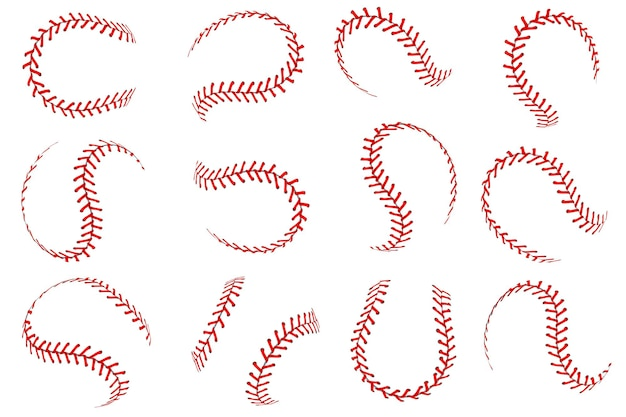 Baseball ball lace. realistic softball balls with red threads stitches graphic elements, spherical stroke lines leather sport equipment, vector isolated set