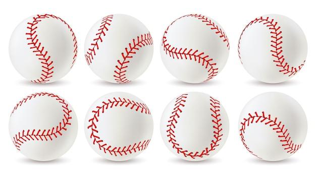 야구공. 다른 각도의 빨간색 레이스 스티치가 있는 가죽 흰색 소프트볼, 게임용 스포츠 장비. 솔기 현실적인 벡터 세트와 운동 공