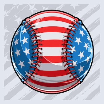 Baseball ball with american flag pattern independence day veterans day 4th of july and memorial day