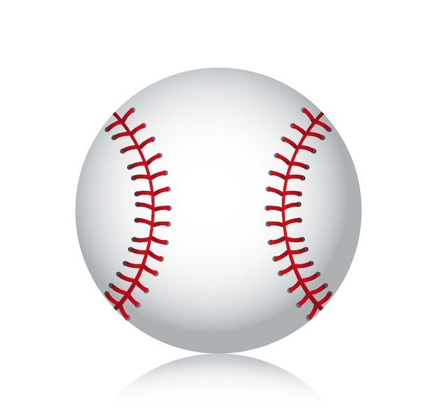 Baseball ball with shadow over white background