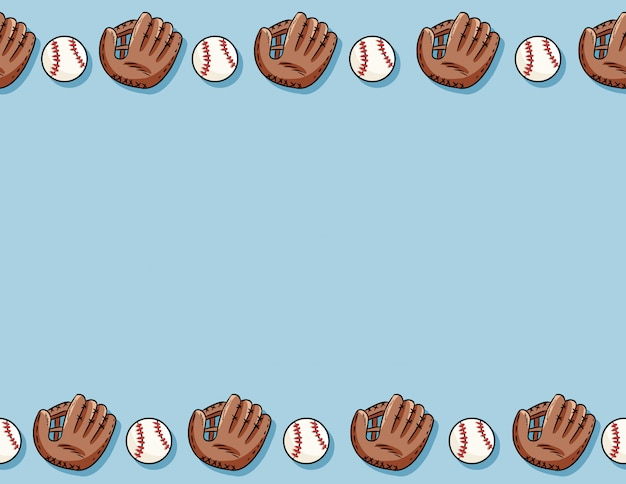 Baseball balls and gloves seamless pattern