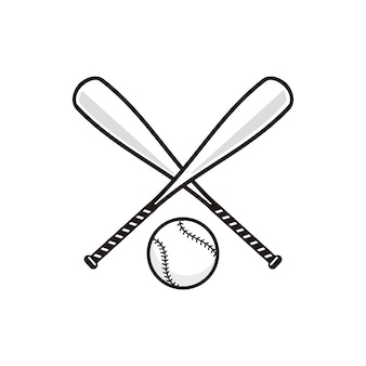 Baseball bat with baseball ball vector