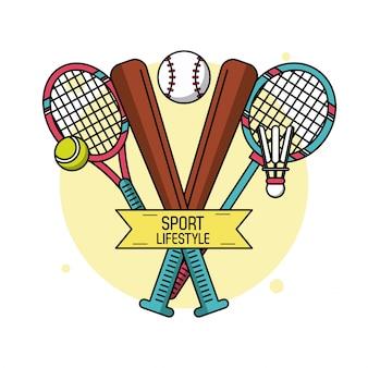 테니스와 배드민턴의 야구 방망이와 라켓