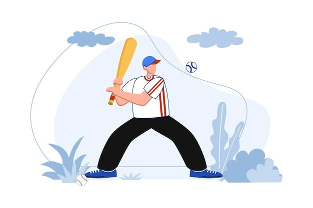 Бейсбольный бэттер игрок собирается сделать хоум-ран иллюстрации