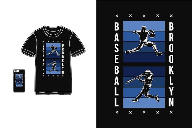 Бейсбол бруклин, макет силуэта футболки