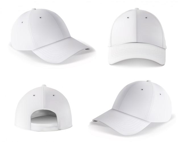 야구 모자. 빈 흰색 모자 앞면과 뒷면 디자인 절연. 현실적인 벡터 스포츠 스냅 백