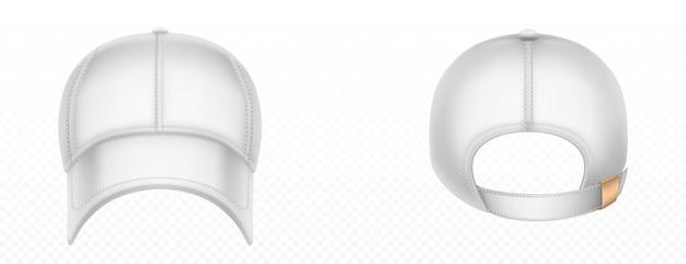 野球帽の正面と背面。ステッチ、バイザー、スナップオンピークの空白の白い帽子の現実的なモックアップをベクトルします。分離された太陽の保護頭のスポーツ制服キャップ