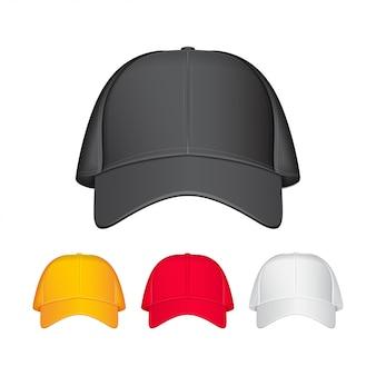 야구 모자. 전면보기. 현실적인 그림. 다른 색상