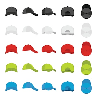 Baseball cap views icons set