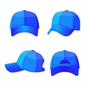 야구 모자 전면 및 후면보기 흰색 절연