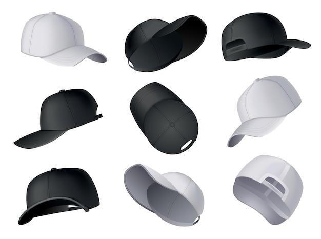 Бейсболки. реалистичный шаблон бейсболки спереди, сбоку, сзади. пустой макет спортивных головных уборов. черно-белые заглушки, изолированные на белом фоне. пустой шаблон бейсбольных кепок.