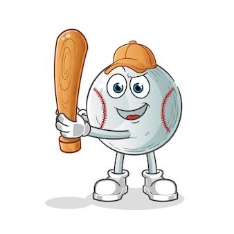 Baseball cartoon character holding baseball bat