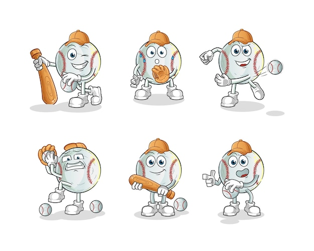 野球漫画のキャラクターマスコットセット