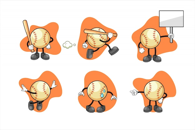 Baseball cartoon character set