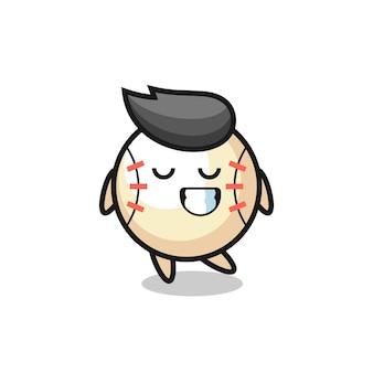 Бейсбольная карикатура с застенчивым выражением лица, милый стиль дизайна для футболки, наклейки, элемента логотипа
