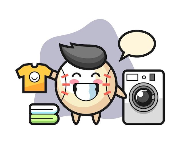 Бейсбол мультфильм талисман стиральная машина